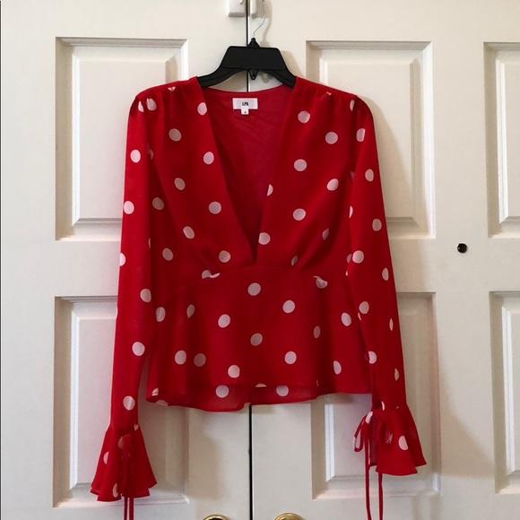 LPA Tops - LPA red polka dot blouse